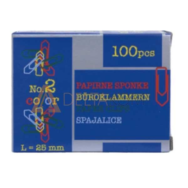 Barvne sponke za papir Niko, 25mm, 100/1